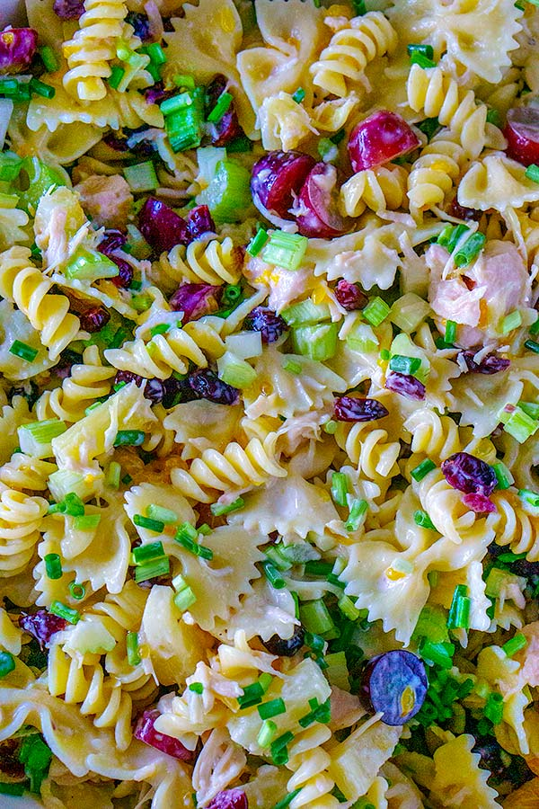 Overhead picture of loaded pasta salad.