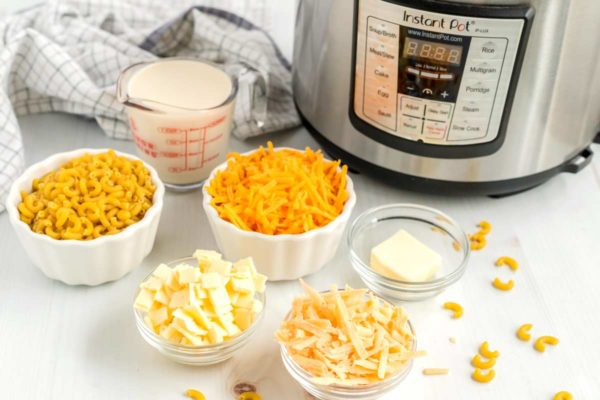 All of the ingredients needed to make Instant Pot Mac and Cheese.