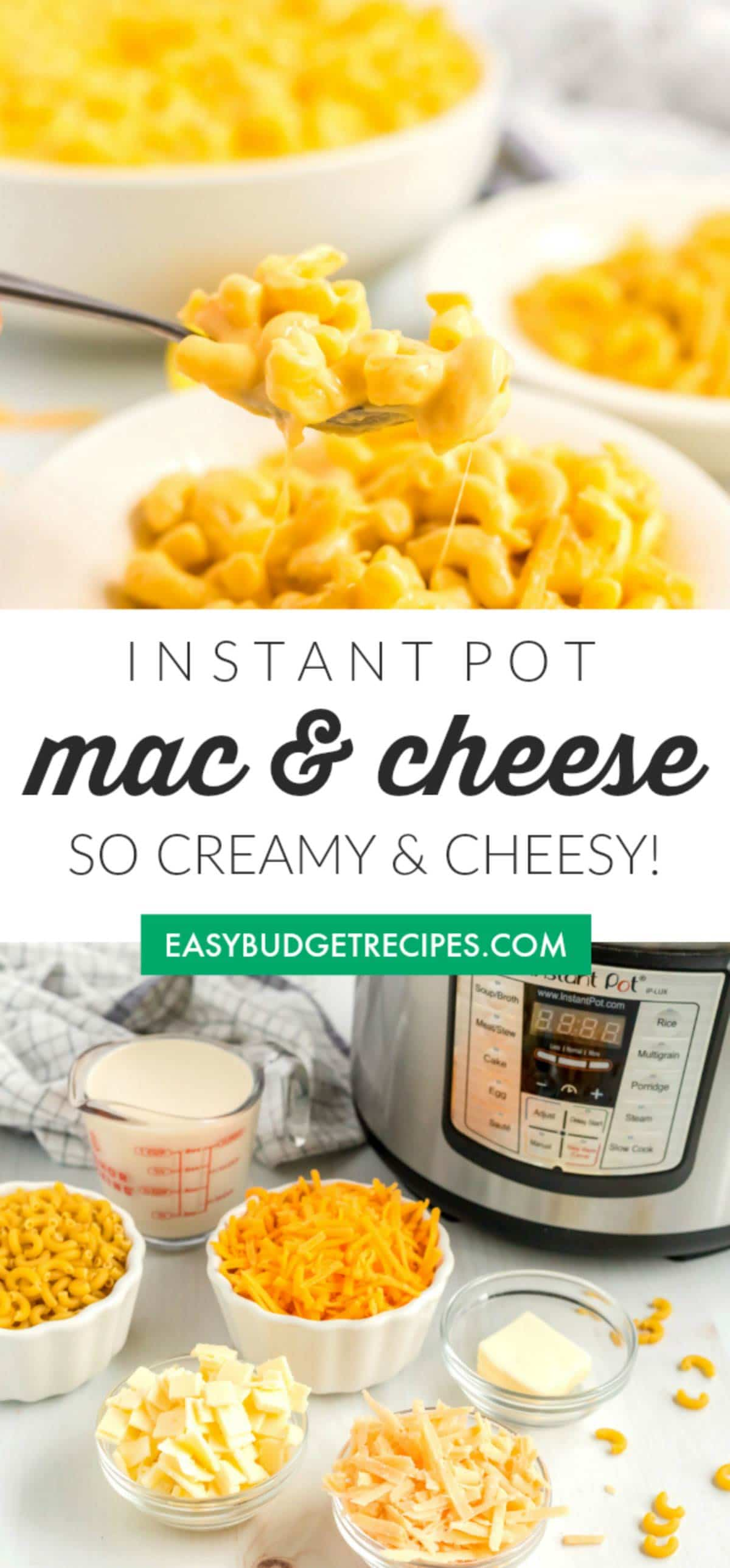 This Instant Pot Mac and Cheese recipe is an easy recipe made with macaroni, butter, evaporated milk, and 3 kinds of cheese. via @easybudgetrecipes