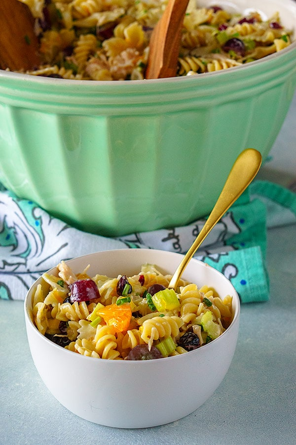 Pasta Salad in a white bowl.
