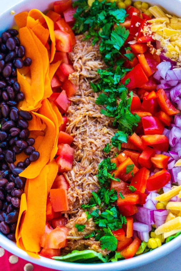 Close up overhead picture of the finished salad in a large salad bowl.
