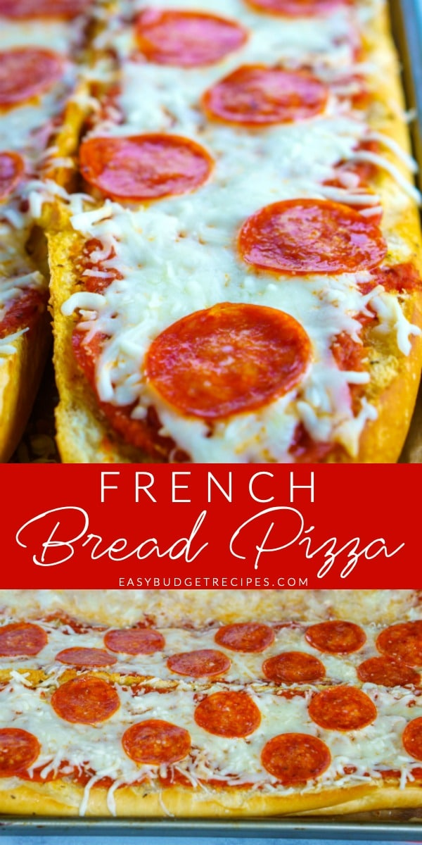This French Bread Pizza recipe is great for pizza night or weekends. It's so easy to make; takes less than 30 minutes! Plus it costs just $1.42 per serving! via @easybudgetrecipes