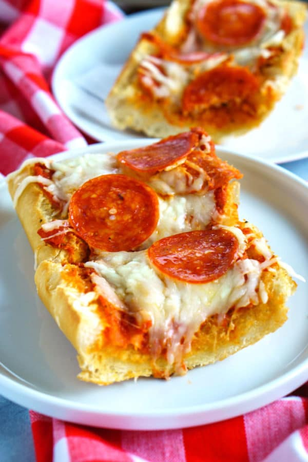 Close up picture of French bread pizza.