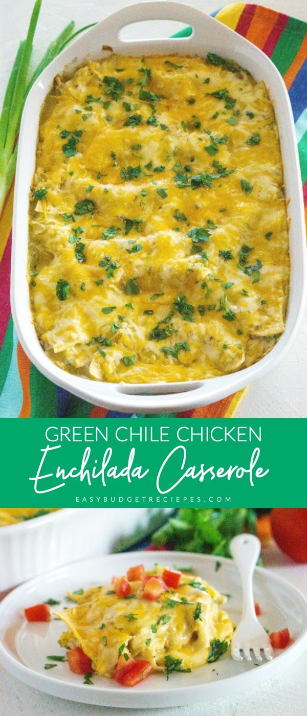 This Green Chile Enchilada Casserole is some serious comfort food! It's easy to make and made with real ingredients (no canned soup)! This recipe serves 8 people and will cost $12.93 to make.  via @easybudgetrecipes