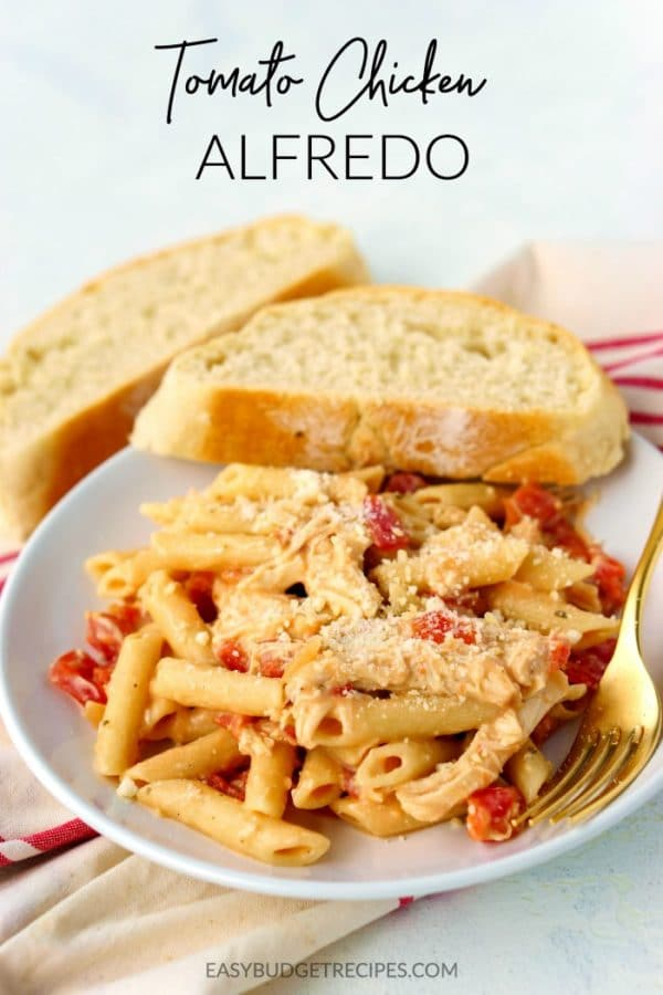 Tomato Chicken Alfredo with chunks of chicken and Parmesan cheese.