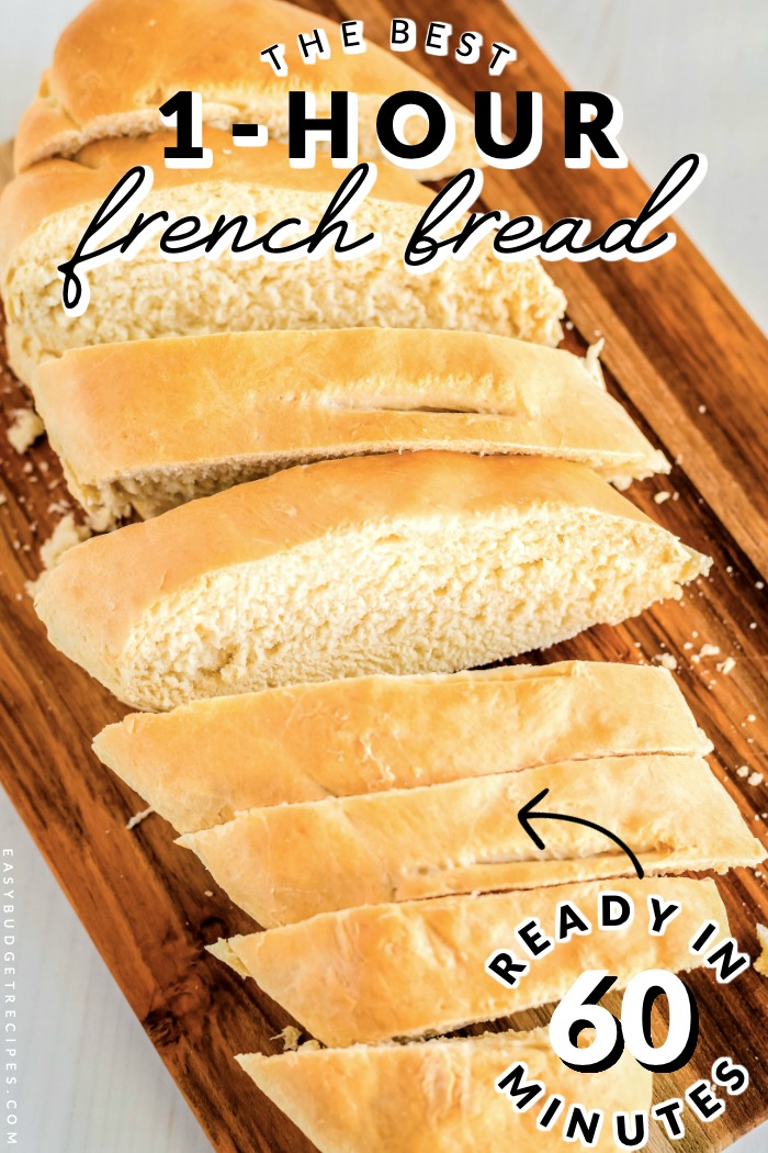 his French Bread recipe takes just one hour from start to finish. It makes 2 large loaves for just $1.90. Each loaf serves 8 people each and will cost just 12¢ per serving!  via @easybudgetrecipes