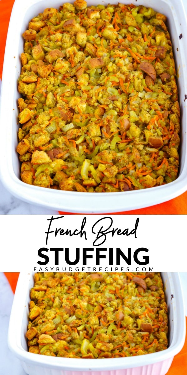 This French Bread Stuffing recipe is made completely from scratch, right down to the bread cubes! It serves 12 people and costs just $7.72 to make! via @easybudgetrecipes