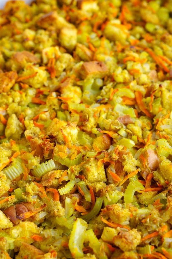 Close up picture of Thanksgiving stuffing.