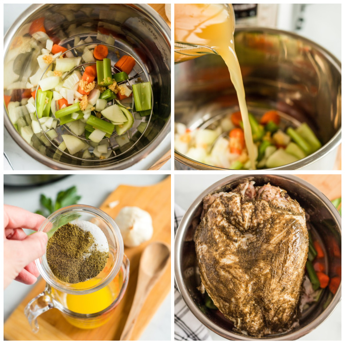 A picture collage of the steps to make this Pressure Cooker Turkey Breast recipe.