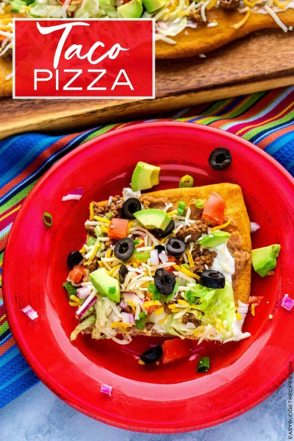 Finished Taco Pizza recipe with text overlay for Pinterest.