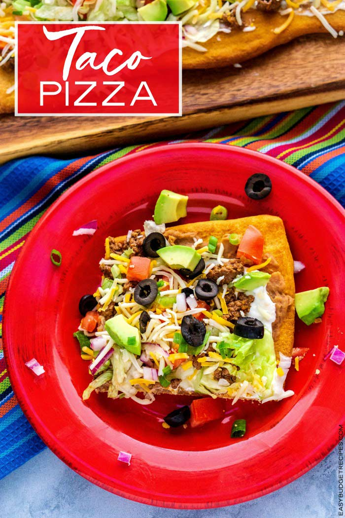 This easy Taco Pizza is quick to make and serves a ton of people! You can serve it for dinner or as a party or holiday appetizer!  via @easybudgetrecipes