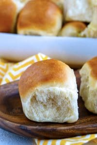 Close up picture of soft and buttery 1-hour dinner rolls.