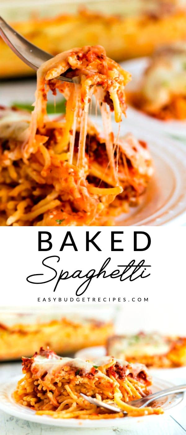 This Cheesy Baked Spaghetti Recipe is easy enough for weekdays and dressy enough for company. It serves 8 people and costs just $13.74 to make! via @easybudgetrecipes