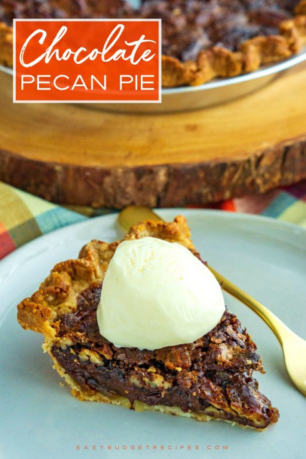 Pecan pie with text overlay with Pinterest.