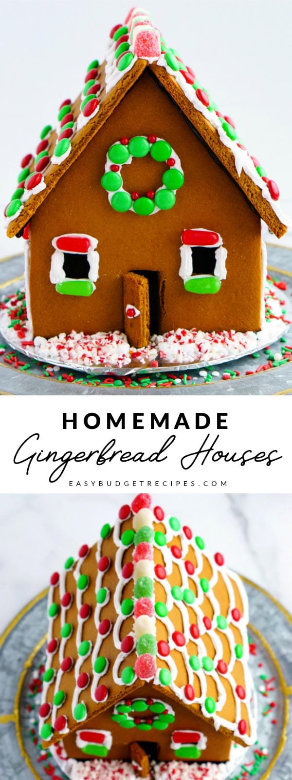 Our Homemade Gingerbread Houses are more than a recipe, they're a tradition. Our recipe is complete with an easy-to-use template, plus it costs just $6.95 to make 2 houses! via @easybudgetrecipes