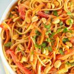 Close up picture of Thai peanut noodles.