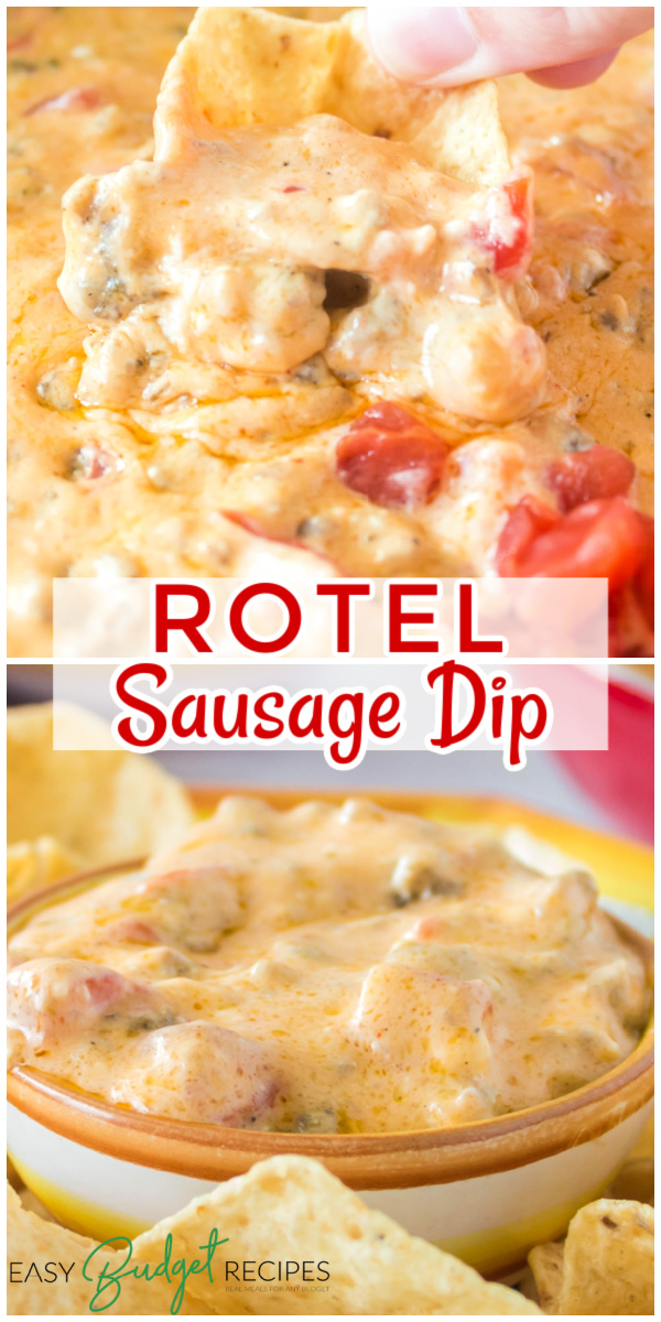 This Cheesy Mexican ROTEL Sausage Dip is always the first thing to go at parties! It's super easy to make, serves 12-15 people, and costs just $7.78 to make! via @easybudgetrecipes
