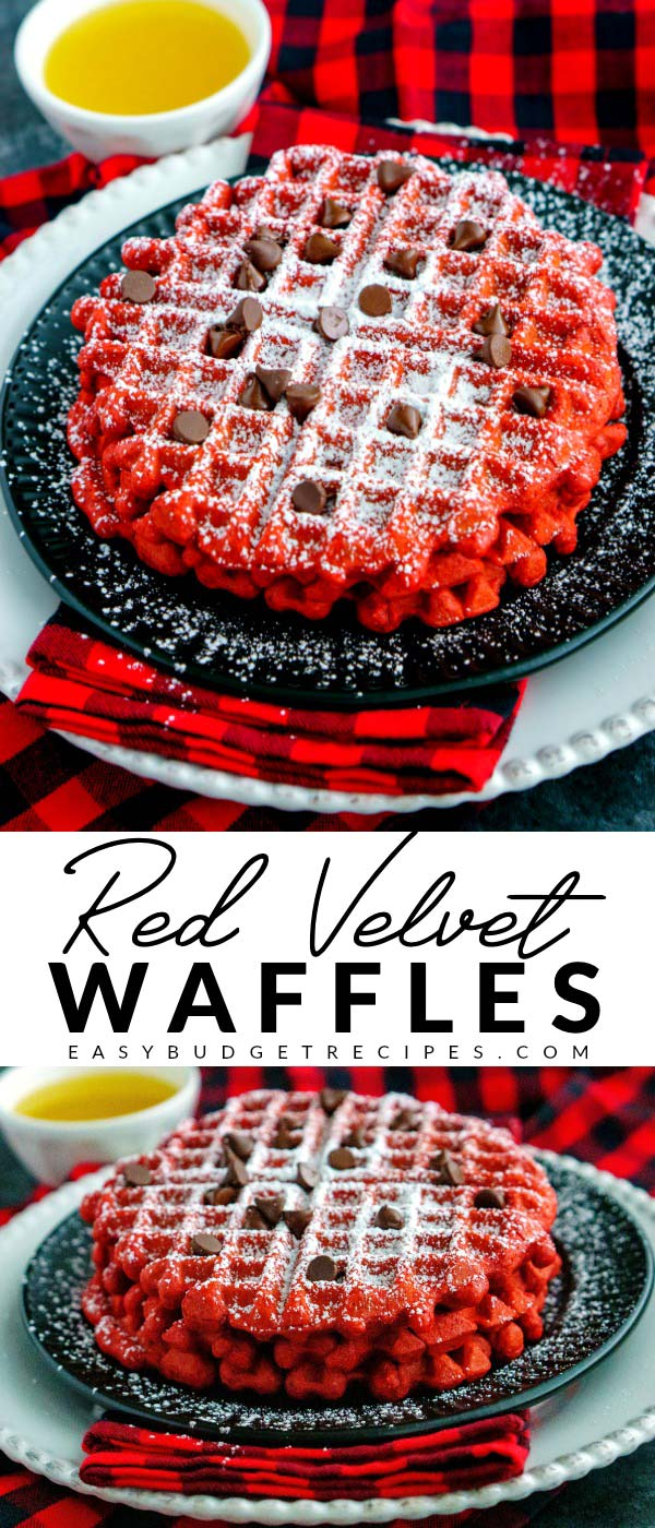 This Red Velvet Buttermilk Waffles Recipe is easy and perfect for Christmas or Valentine's Day. The recipe makes 8 and costs just 58¢ per waffle to make! via @easybudgetrecipes