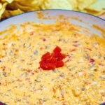 Close up picture of the cheesy sausage dip.