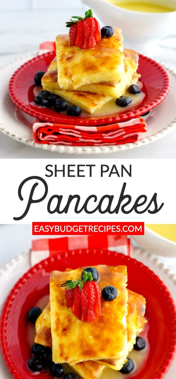 These Buttermilk Sheet Pan Pancakes are the easiest and tastiest pancakes that you will ever make! They serve 8 and cost just $4.20 to make.  via @easybudgetrecipes
