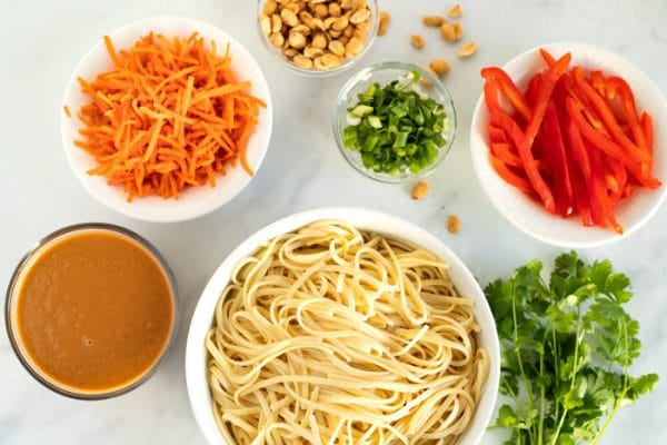 All of the ingredients needed for Thai peanut noodles.