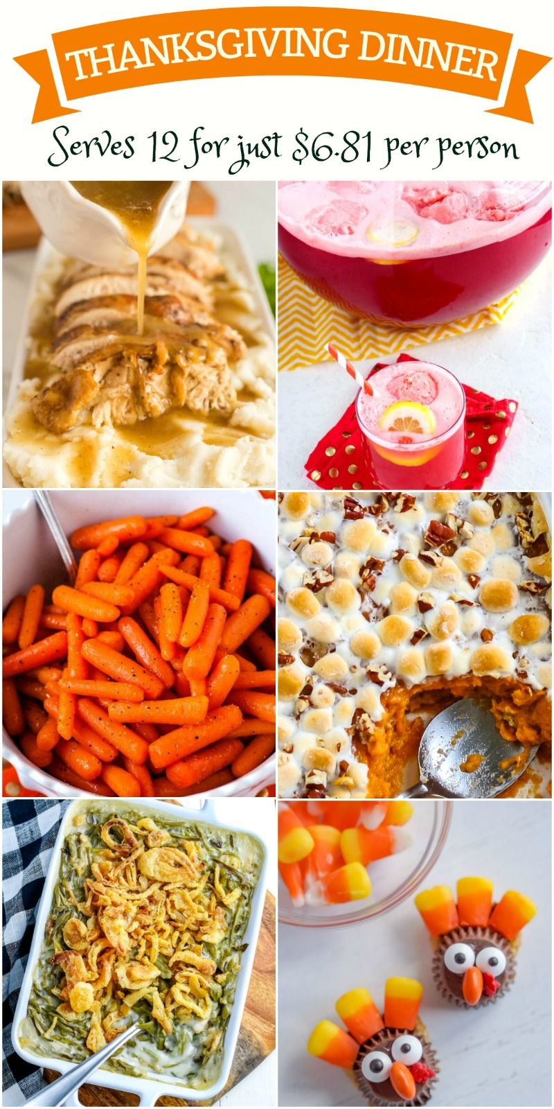 Picture Collage of Thanksgiving dishes to serve 12 with text overlay for Pinterest