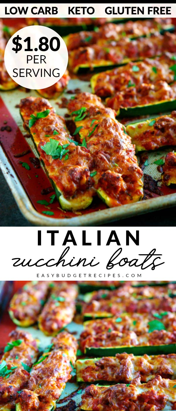 This easy Italian Zucchini Boats recipe is easy to make and healthy, too at just 240 calories per serving. This recipe is gluten-free, low carb, and keto. Plus it costs just $10.76 for 6 servings! via @easybudgetrecipes