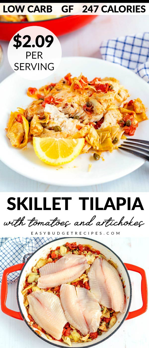 This 15-Minute Skillet Tilapia is easy, delicious, under 250 calories, serves 6 and costs $12.54 to make. Which is just $2.09 per serving! It's also gluten-free, low carb, and Keto-friendly! 