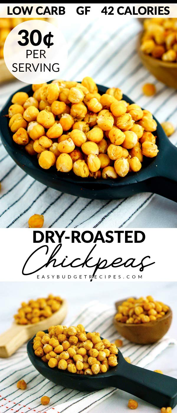 This Dry-Roasted Chickpeas recipe is a healthy, gluten-free, low-carb snack that is so easy to make. It costs $2.67 to make and just 30¢ per serving.  via @easybudgetrecipes