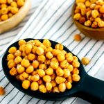 Dry-roasted chickpeas in bowls.