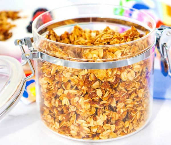 Close up picture of granola in a canister.