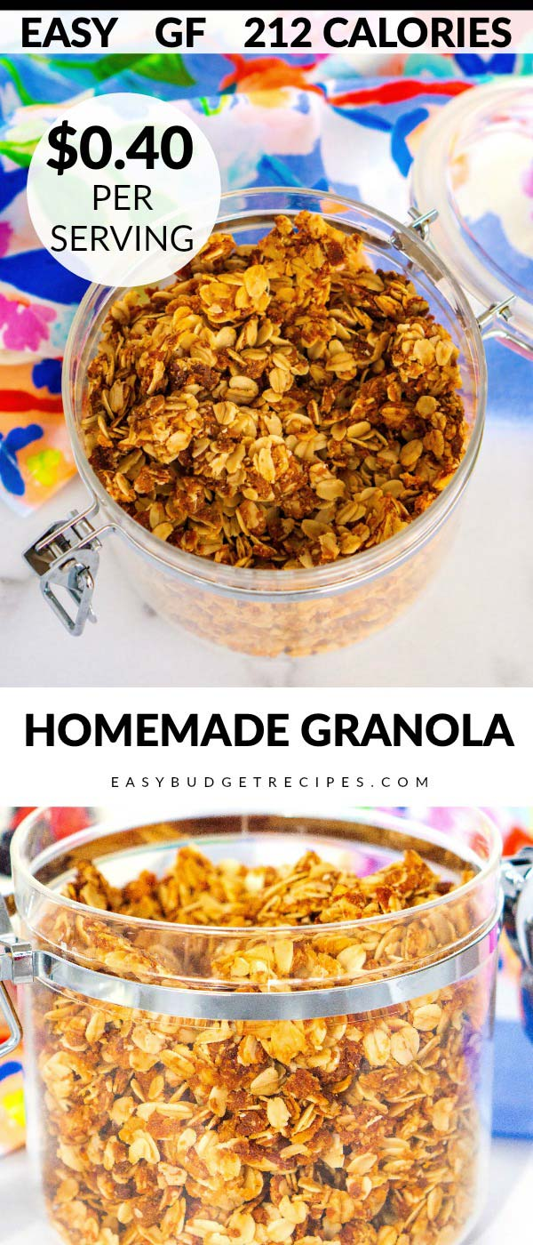 Homemade Granola is delicious, easy, and so economical to make! The recipe makes 16 servings and costs just $7.18 to make, that's only $0.40 per serving! via @easybudgetrecipes