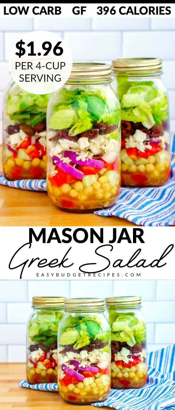 This Greek Mason Jar Salads recipe makes 6 large, filling, and nutritious salads. It costs $11.76 to make 6, and EACH salad costs just $1.96 to make! via @easybudgetrecipes