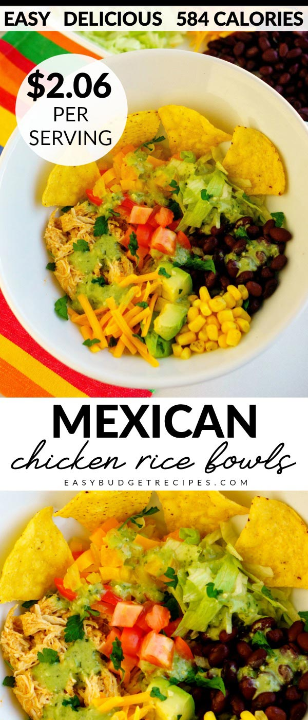 These Mexican Chicken Rice Bowls are an easy, delicious, and healthy recipe the entire family will love. It costs $12.36 to make which is just $2.06 per serving.  via @easybudgetrecipes