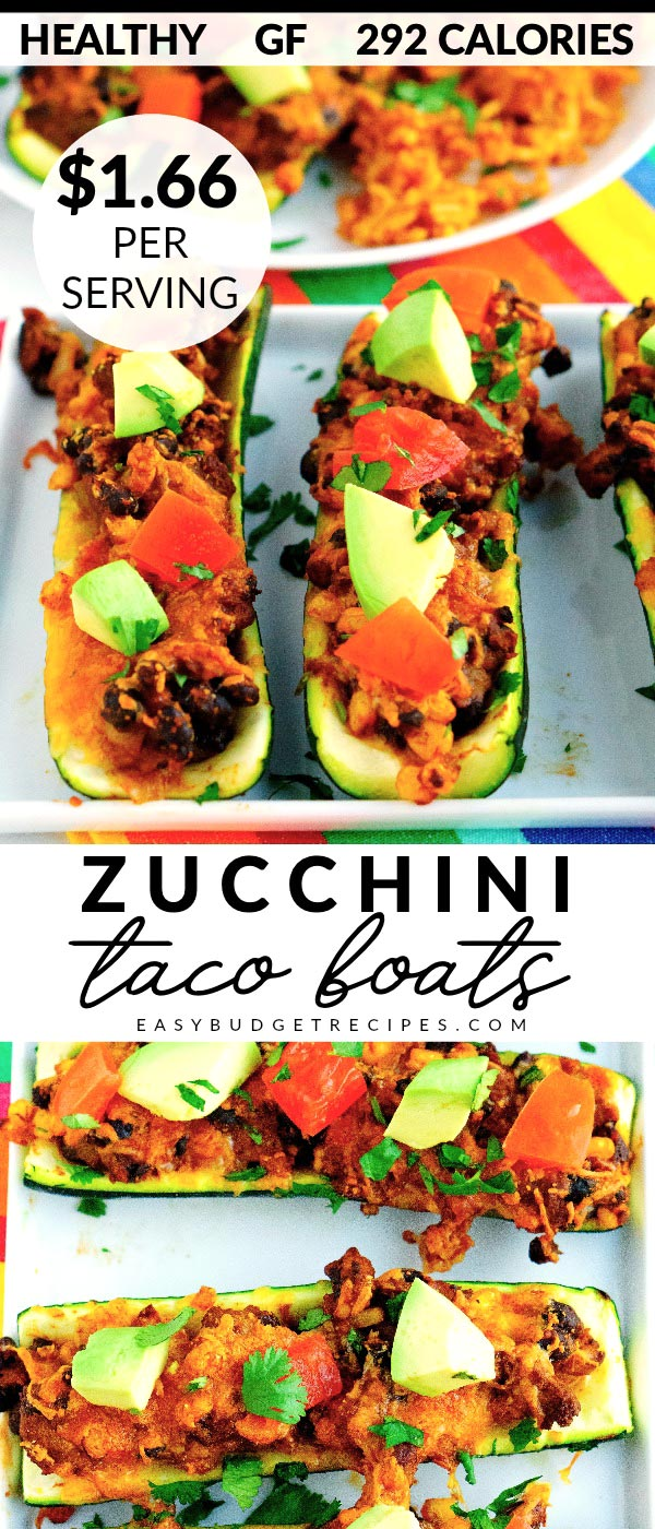 Zucchini Taco Boats are a satisfying and healthy main dish that has only 292 calories per serving! The recipe serves 6 and costs $9.94 to make. That's just $1.66 per serving! via @easybudgetrecipes