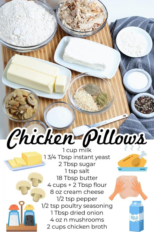All of the ingredients needed to make Chicken Pillows.