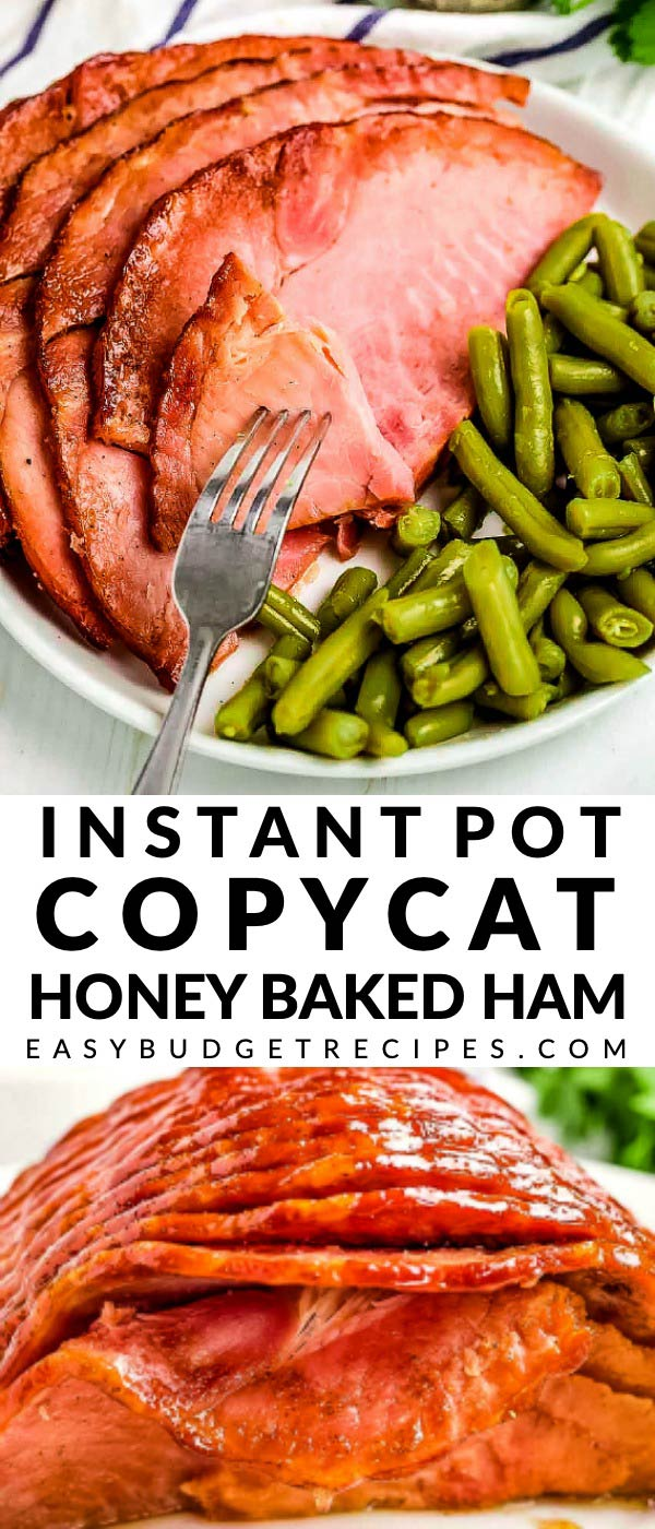 This Instant Pot Honey Baked Ham recipe is a delicious copycat that will save you a lot of money! It serves 10 and costs $22.57 to make. That's just $2.26 per serving! via @easybudgetrecipes