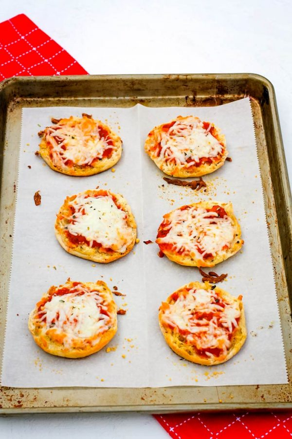 Overhead picture of English Muffins pizza