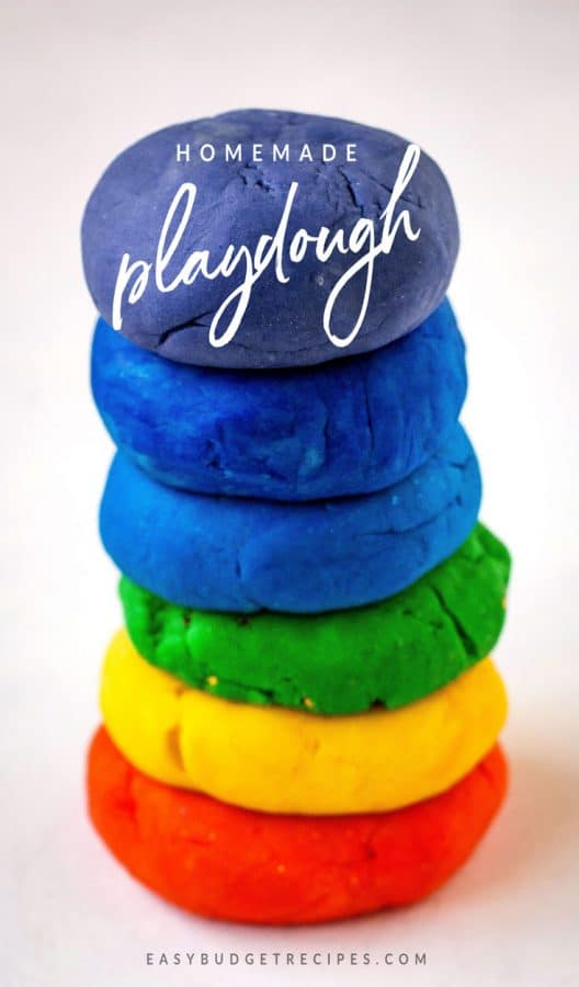 Finished playdough with text overlay for social media.