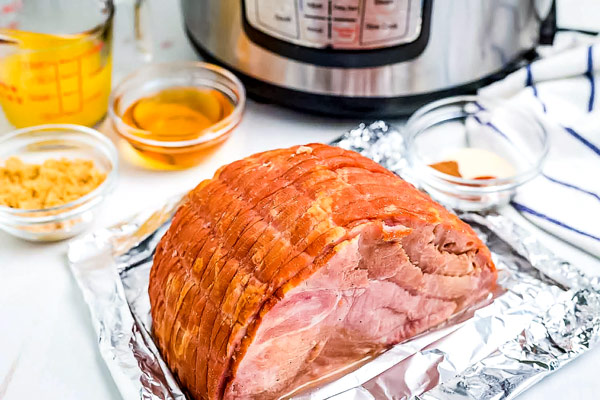 All of the ingredients needed to make Copycat Honey Baked Ham in the Instant Pot.