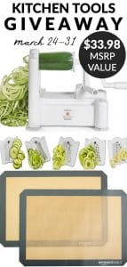 Picture collage of kitchen tools we're giving away with text overlay for social media.