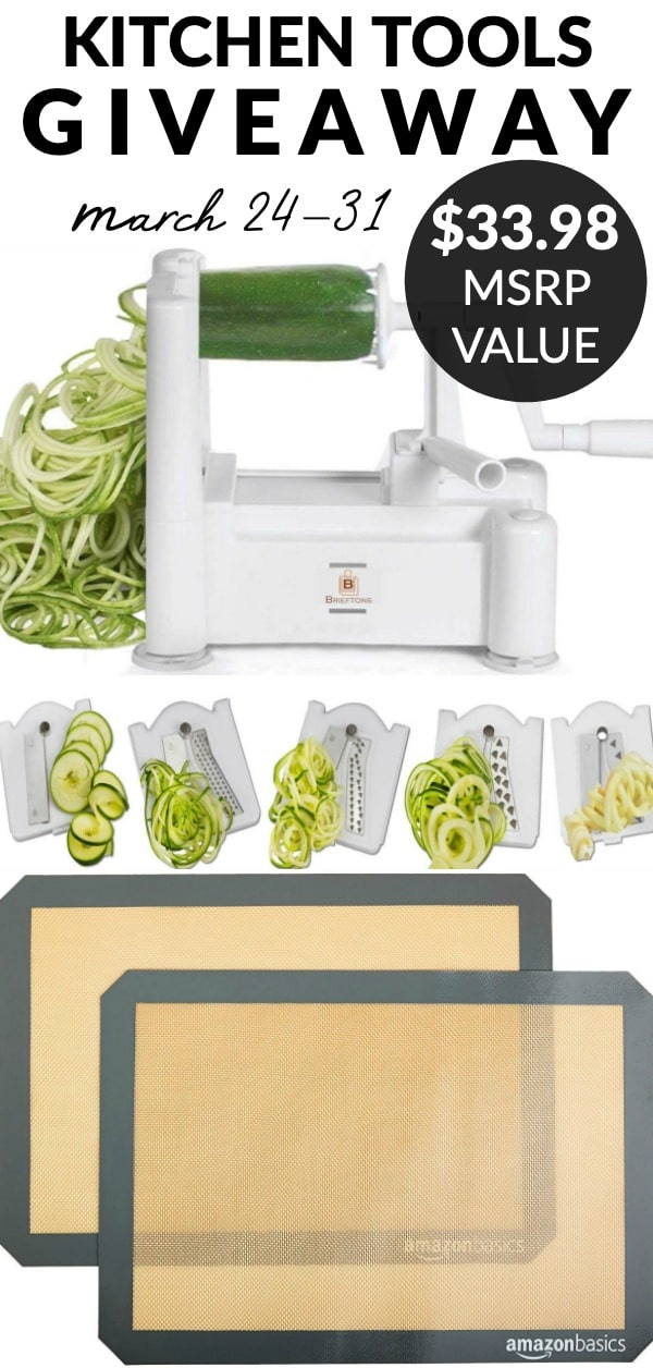 Kitchen Tools Giveaway! Enter to win a vegetable spiralizer and a set of silicone baking mats! Combined they have an MSRP of $33.98. via @easybudgetrecipes