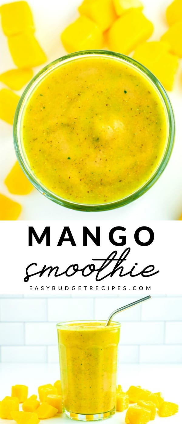 Picture collage of mango banana smoothie with text overlay for Pinterest.