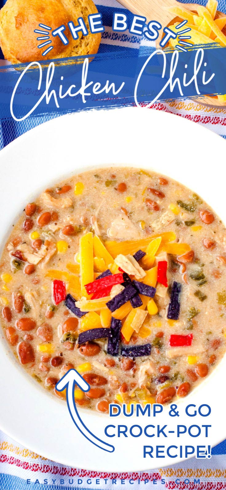 This Crock-Pot White Chicken Chili recipe is an easy dump-and-go recipe that's perfect for weeknights. It serves 6-8 people and costs $12.40 to make. That's just $2.07 per serving! via @easybudgetrecipes