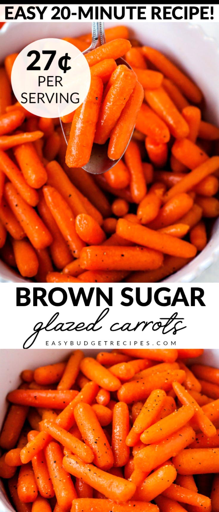 These Brown Sugar Glazed Carrots are an easy side dish that the entire family will love. This recipe takes 20 minutes, serves 8, and costs $2.17 to make. That's just 27¢ per serving. via @easybudgetrecipes
