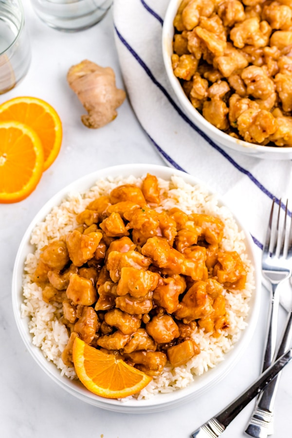 Overhead picture of the finished Panda Express Orange Chicken copycat recipe.