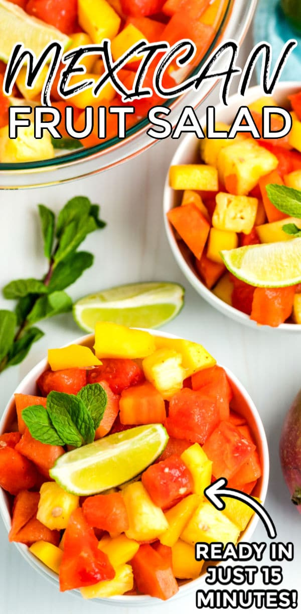 Mexican Fruit Salad is an easy 6-ingredient side salad that is so refreshing and flavorful. This recipe makes 8 servings and costs $9.26 to make. That's just $1.16 per serving. via @easybudgetrecipes