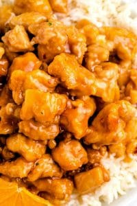 Close up picture of Panda Express Orange Chicken.