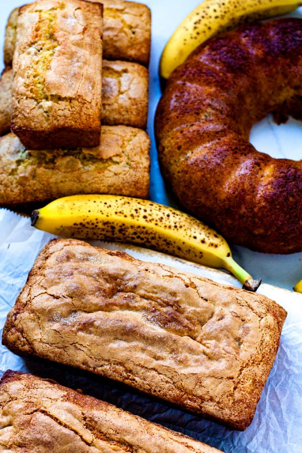 Cake Mix Banana Bread made in 3 differnt pans: regular bread pans, small bread pans, and bundt pans.