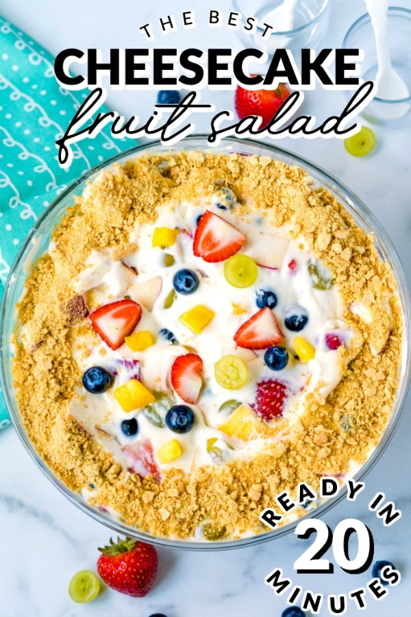 Cheesecake Fruit Salad is a classic dessert for a reason! It's versatile, delicious, and so easy to make. 20 minutes is all you need to make it!  via @easybudgetrecipes